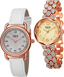 Burgi Women's Classic 2 Watch Set - 1 Simple Every Day Leather Strap Watch -1 Swarovski Crystal Accented Faceted Bracelet Watch Packed in Gift Set - BUR133