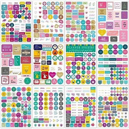 JUHONNZ Autocollants pour Planificateur,12 Différent Happy Planner Décoration Accessoires, Mini Stickers a Scrapbooking et Bullet Journal, Multicolore(#A)