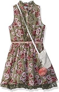 Beautees Girls' Big Button Front Floral Print Shirt Dress