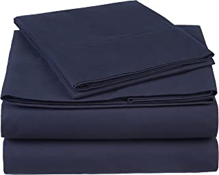Pinzon 300 Thread Count Organic Cotton Bed Sheet Set, Twin, Navy Blue