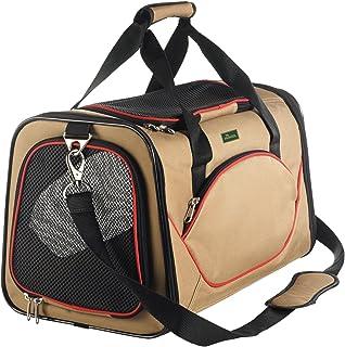 HUNTER Kansas bärväska för hundar och katter, vikbar, 50 x 30 x 30 cm, beige/röd