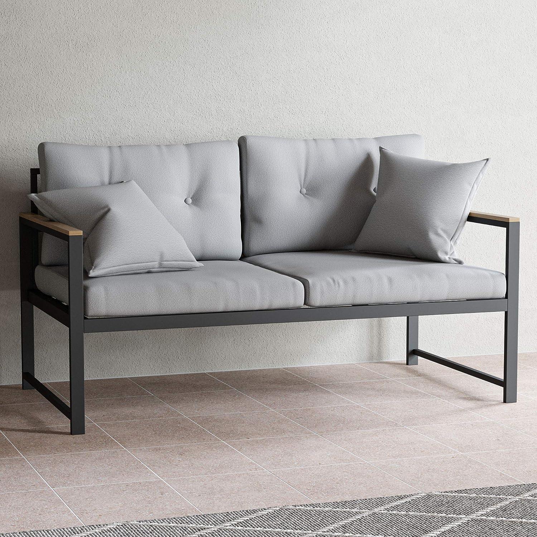 EdenbrookCliffsideMetalPatio Furniture - Mix and Match Modern Outdoor Furniture Pieces,Metal Loveseat with Cushions