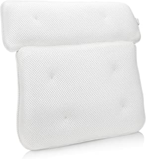 Sierra Concepts Bliss Luxury 3D Mesh Spa Bath Pillow for Bathtub, Spa with Six Strong Grip Suction Cups - Soft, Comfortable & Quick Dry for Neck, Head, Shoulder Ergonomic Support (14 x 14)