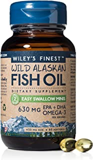 Wild Alaskan Omega-3 Fish Oil - Easy Swallow Minis 2X Double Strength 630mg EPA + DHA Natural Supplement 60 Mini Softgels
