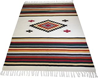 El Paso Designs Beautiful Mazatlan and San Miguel Blanket- 5'x7' Heavy Weight, Hand-Woven Blanket with Intricate Mexican Saltillo Diamond (San Miguel)