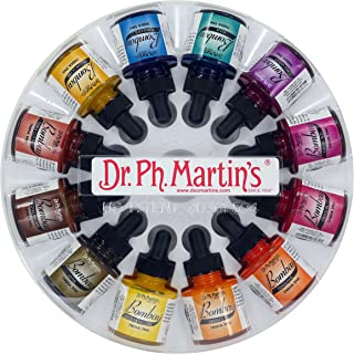 Dr. Ph. Martin's Bombay India Ink (Set 2) Ink Set, 1.0 oz, Set 2 Colors, 1 Set of 12 Bottles.