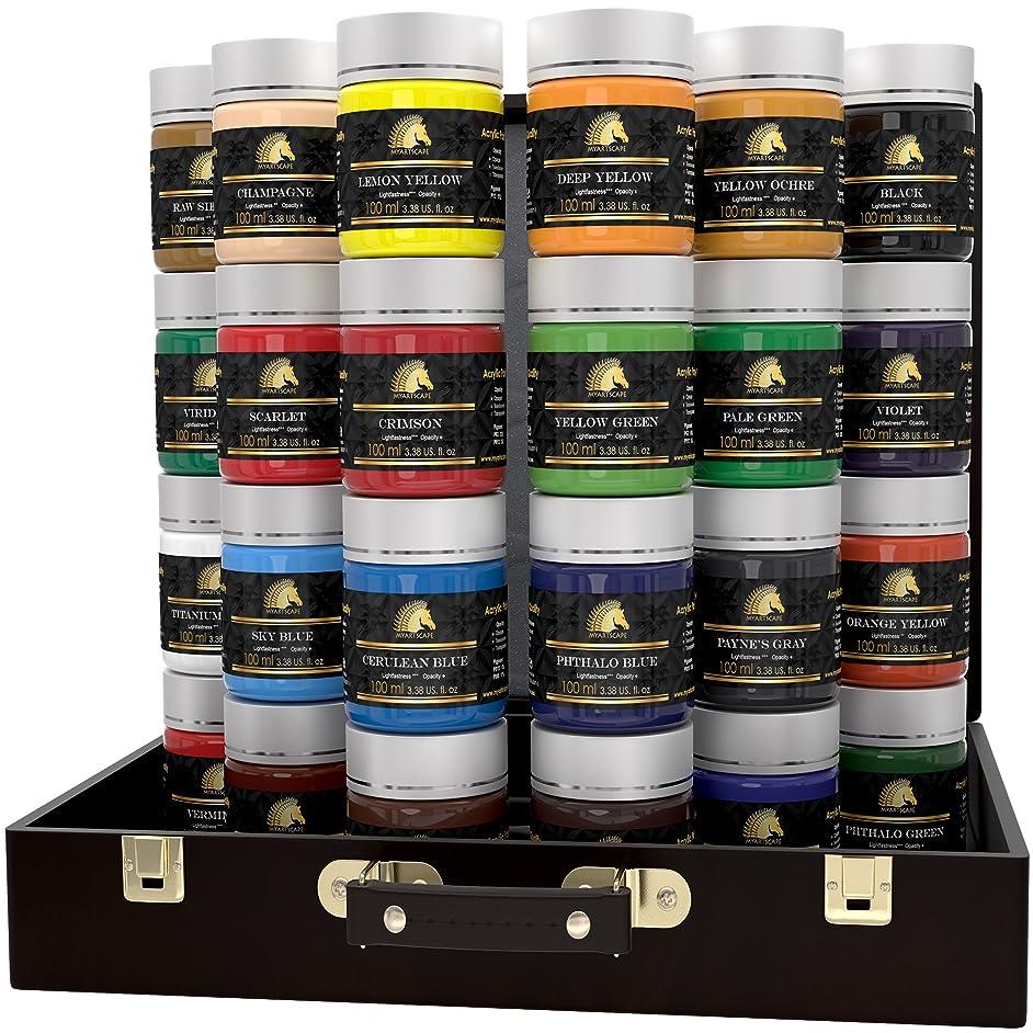 Acrylic Paint Set - 24 x 100ml Bottles - Heavy Body - Lightfast Paints - Artist Quality - MyArtscape