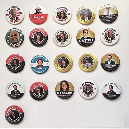 Set of 6 Democrat Political Party Buttons 2.25 inches