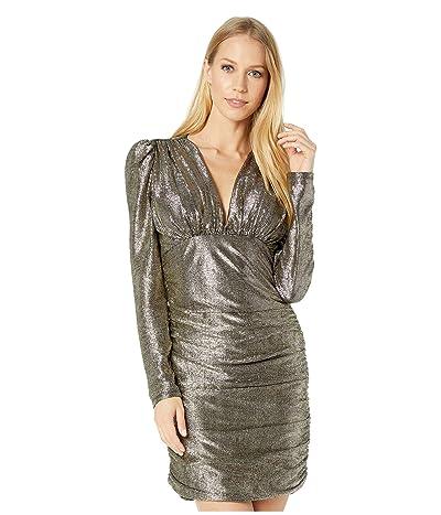BCBGMAXAZRIA Long Sleeve Metallic Cocktail Dress (Gold Combo) Women