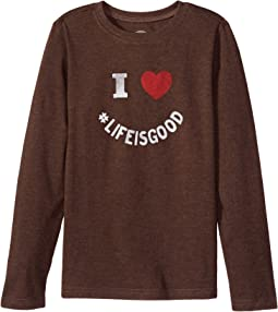 Life is Good Kids - I Heart LIG Long Sleeve Crusher Tee (Little Kids/Big Kids)