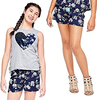 Justice Girl's 2-Piece Bundle, Lace Up Flip Sequin Heart Tank Top & Tassel Pattern Soft Shorts Set - Size 14/16