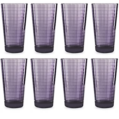 Circleware 44824 Plum Drinking Glasses, Huge Set of 8, 17 oz, Heavy Base Highball Tumbler Beverage Ice Tea Cups, Home & Kitchen Entertainment Glassware for Water, Juice, Milk, Beer