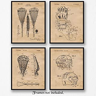 Original Lacrosse Patent Poster Prints, Set of 4 (8x10) Unframed Photos, Great Wall Art Decor Gifts Under 20 for Home, Office, Studio, Garage, Man Cave, College Student, Teacher, Coach, Sports Fan