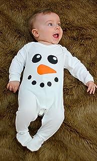 Lindo muñeco de nieve Baby para niño/de Navidad ropa de bebé/bebé de primera Navidad por diseño de vestido de Moo blanco blanco Talla:6-12 meses