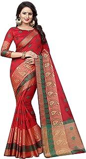 Satyam Weaves Women's Ethnic Wear Polycotton Saree with Blouse Piece, Free Size (mango red) …
