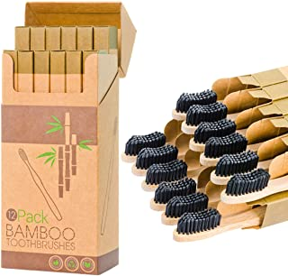 Sponsored Ad - 12 Individual Pack Premium Bamboo Toothbrush-All Natural Organic Waveform Toothbrushes with Charcoal Infuse...