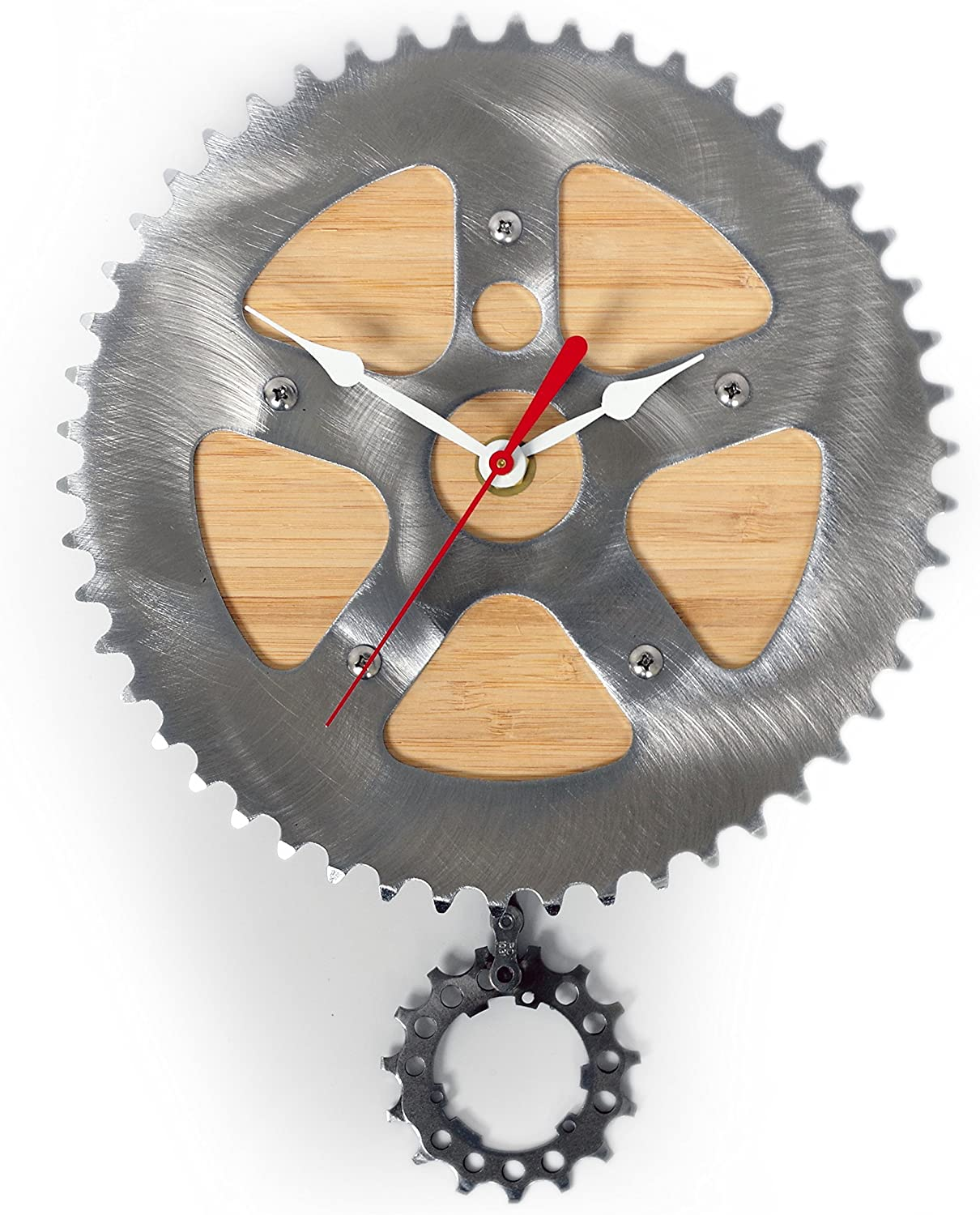 Resource Revival Bamboo Bike Clock Recycled Bicycle Material Wall Pendulum Clock   Rustic Modern Round Metal Gear Clock - Created for The Adventurer