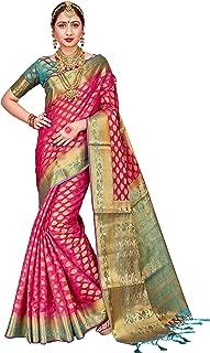 ELINA FASHION Sarees for Women Banarasi Art Silk Woven Work Saree l Indian Wedding Ethnic Wear Sari & Blouse Piece