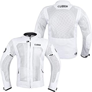 Cuber Motorcycle Cordura jacket for men-Mens breathable body armor black and white jacket-CE Armored Safety jackets for men.