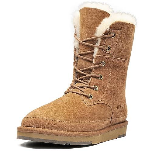 5927d4fcd6419 Aumu Womens Classic Lace up Mid-Calf Flat Fur Snow Boot Winter Boot