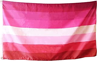 Lesbian Pride Flag - Double Sided Color - 3x5 Foot - Silky Smooth Fabric - Sleeve and Metal Grommet