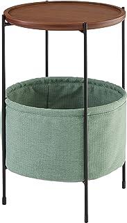 Marca Amazon -Rivet Meeks - Mesa auxiliar redonda con cesto para almacenaje (nogal y tejido verde azulado)