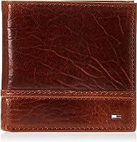 محفظة جلدية للرجال من تومي هيلفجر - ثنائية الطيات رفيعة مع 6 جيوب لبطاقة الائتمان ونافذة لبطاقة الهوية قابلة للإزالة