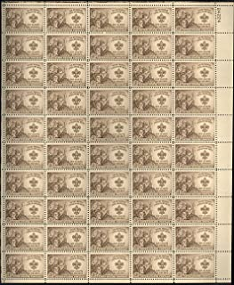 USPS Boy Scout Badge Complete Sheet of 50 3 Cent Stamps Scott 995