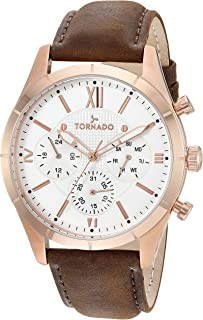 Tornado Men's Silver Dial Leather Band Watch - T8105-RLDSK