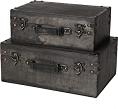 SLPR Jackson Wooden Trunk with Straps (Set of 2, Grey Wood)   Old-Fashioned Antique Vintage Style Nesting Trunks for Shelf Home Decor Birthday Parties Wedding Decoration Displays Crafts