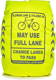 Respect My Lane Ultra-Reflective 100% Waterproof Backpack Bag Rain Cover w/High-Visibility 3M Scotchlite for Safe Day/Night Cycling.Cyclist May USE Full Lane State Law