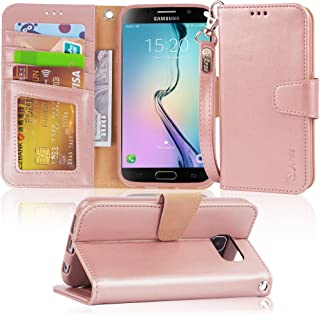 Arae Case Compatible for Samsung Galaxy S6 - [Wrist Strap] Flip Folio [Kickstand Feature] PU Leather Wallet case with ID&Credit Card Pockets (Rosegold)