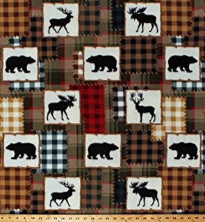 Fleece Northwoods Animals Deer Moose Bears Plaid Patchwork Squares Lodge Cabin Hunting Fleece Fabric Print by The Yard (A339.20)
