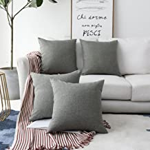 HOME BRILLIANT Decorative Linen Square Throw Cushion Covers Pillow Shams for Bed, 18 x 18, Dark Grey, 4 Pack