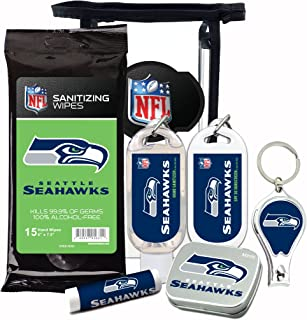 Seattle Seahawks 6-Piece Fan Kit with Decorative Mint Tin, Nail Clippers, Hand Sanitizer, SPF 15 Lip Balm, SPF 30 Sunscreen, Sanitizer Wipes. NFL Football Gifts for Men and Women