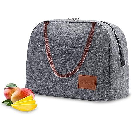 Moyad Sac Repas Isotherme Femmes Fourre-Tout Glacière à Déjeuner Réutilisable Lunch Bag Classique 12L Gris