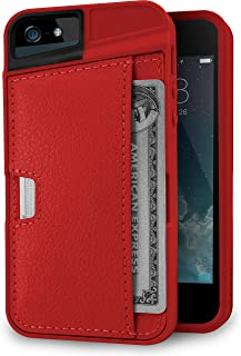 Smartish iPhone 5/5s/SE (2016) Wallet Case - Q Card Case for iPhone 5/5s/SE (2016) [Protective Slim Cover] [Silk] - Red Fa...