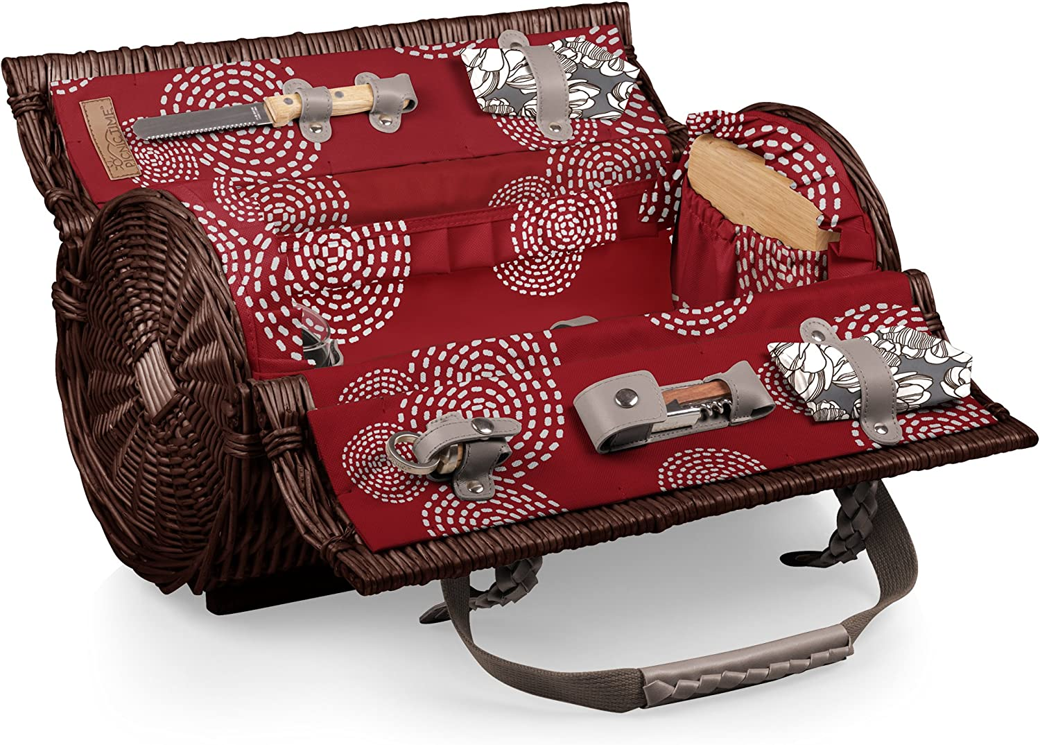 Picnic TIME 'Verona' Insulated Wine Basket with Wine Cheese Service for Two, Harmony Collection