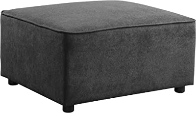 Acme Furniture Silvester Ottoman in Gray Fabric
