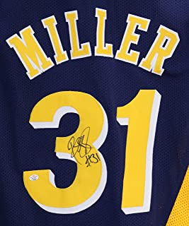 Reggie Miller Indiana Pacers Signed Autographed Navy and Gold Throwback #31 Custom Jersey PAAS COA