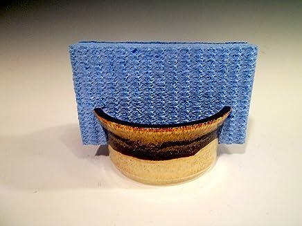 Handmade Sponge Holder/Sink Caddy ~ Stoneware Ceramic Pottery - Yellow Wheat with Brown Swirl