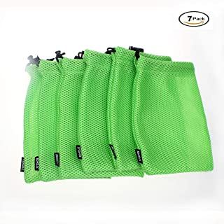 Mingna Mesh Bags, Durable Lightweight Nylon Mesh Sports Equipment Bag Cord Lock Travelling Camping Outdoor (Green)