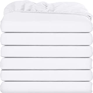 Utopia Bedding Fitted Sheets - Pack of 6 Bottom Sheets - Soft Brushed Microfiber - Deep Pockets, Shrinkage & Fade Resistant - Easy Care (Queen, White)