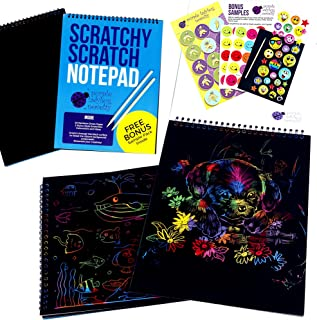 Rainbow Scratch Paper Art Kit for Kids: 20 BIG Sheets of Rainbow Color Scratch Off Paper in a Notepad + 2 Stylus Scratchers - Perfect Gift for Girls or Boys, Travel Activity for Airplane or Car