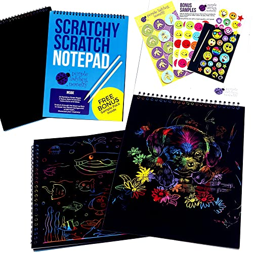 """Scratch Paper Notepad by Purple Ladybug Novelty, 20 BIG 11"""" x 8.25"""" sheets coil-bound together of black rainbow scratch paper for kids - Makes Art Fun! Set comes with FREE bonus Sample Pack!"""