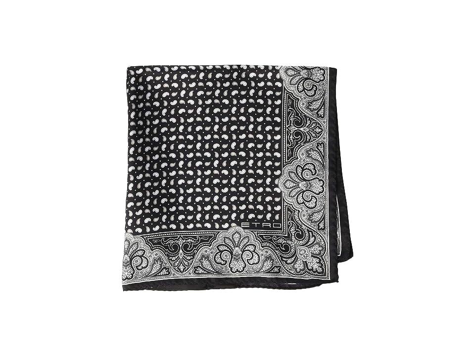 Etro Paisley Border Pocket Square (Black/White) Ties