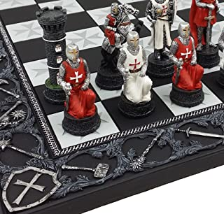 HPL Medieval Times Crusades Red and White Armored Maltese Knights Chess Set with 17