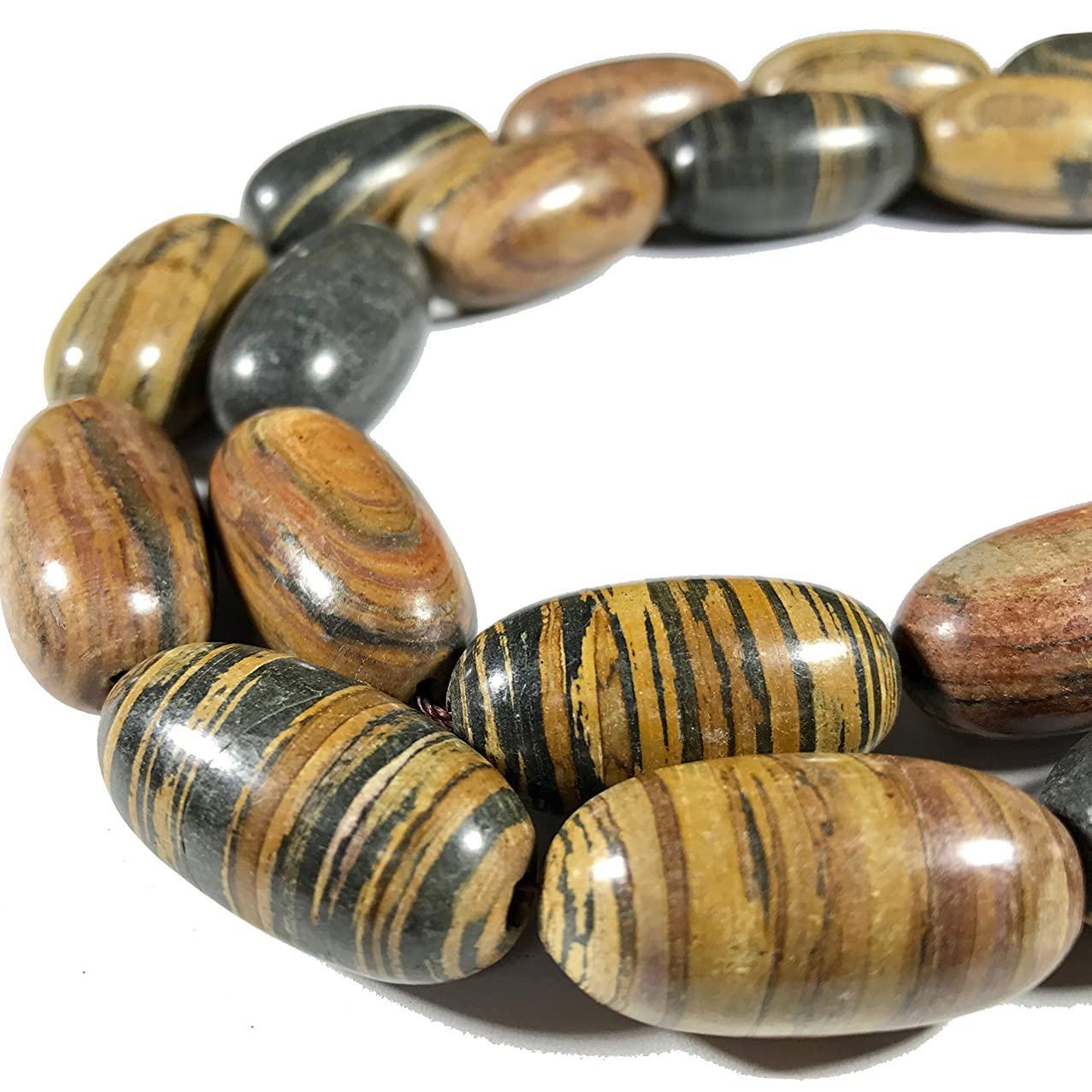 [ABCgems] Extremely Rare Matte Madagascan Chocolate Petrified Wood AKA Fossilized Wood (Exquisite Tiger Matrix- Grade AA) 15x30mm Smooth Rice Beads For Beading & Jewelry Making (No Polish)