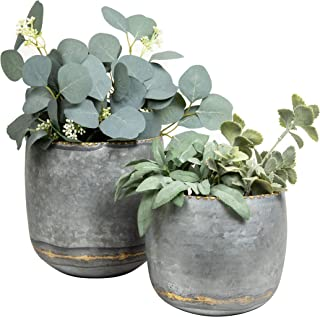 Danya B. Galvanized Metal Wall Planter Set of 2 in Small and Large Size for Indoor or Outdoor Use, Distressed, Rustic, Far...