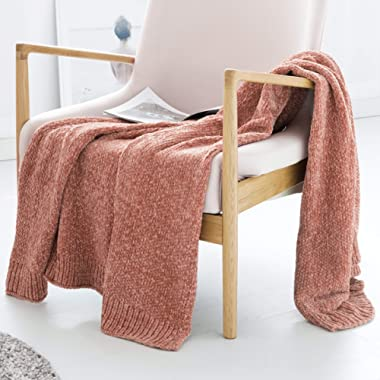 ALPHA HOME Extra Soft Chenille Throw Blanket Decorative Throw for Bed, Couch, Sofa, 60  x 50  Pink…